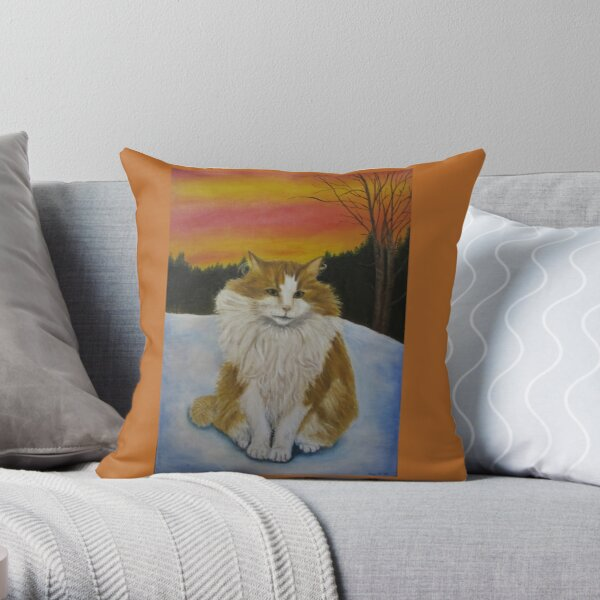Cat in sunset Throw Pillow