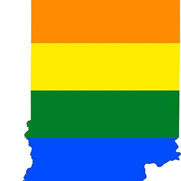LGBT Flag Map of Indiana  by abbeyz71
