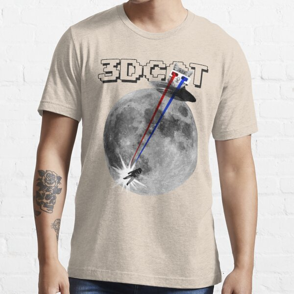 3D Cat Attacks the Moon Essential T-Shirt