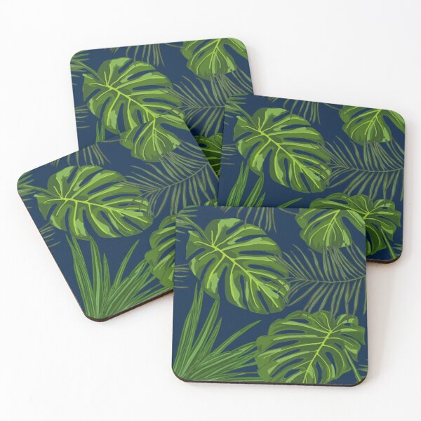 Tropical Plants on Midnight Blue  Coasters (Set of 4)