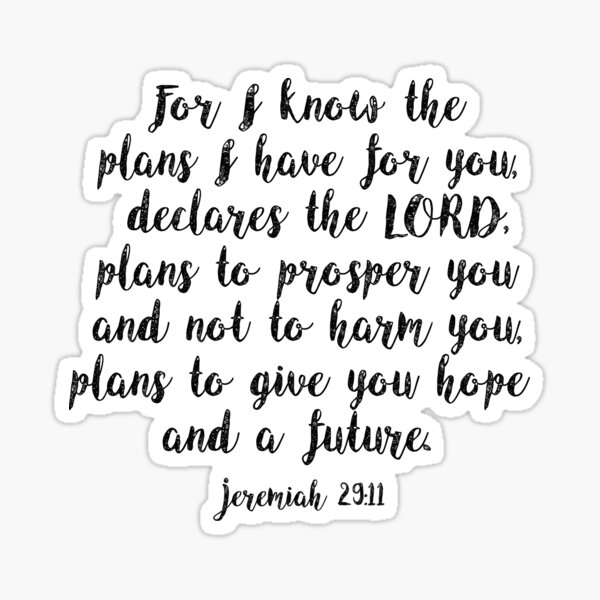 Bible Verse Jeremiah 29:11 Sticker