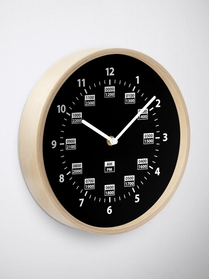 Alternate view of 24 Hour Military Time and Standard Time Combo Clock
