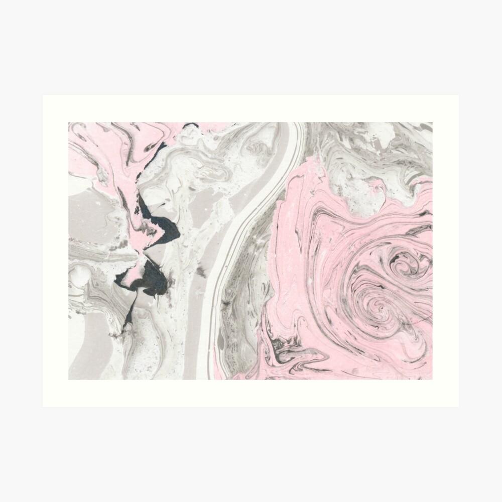Suminagashi Love, Gray and Pink Art Print