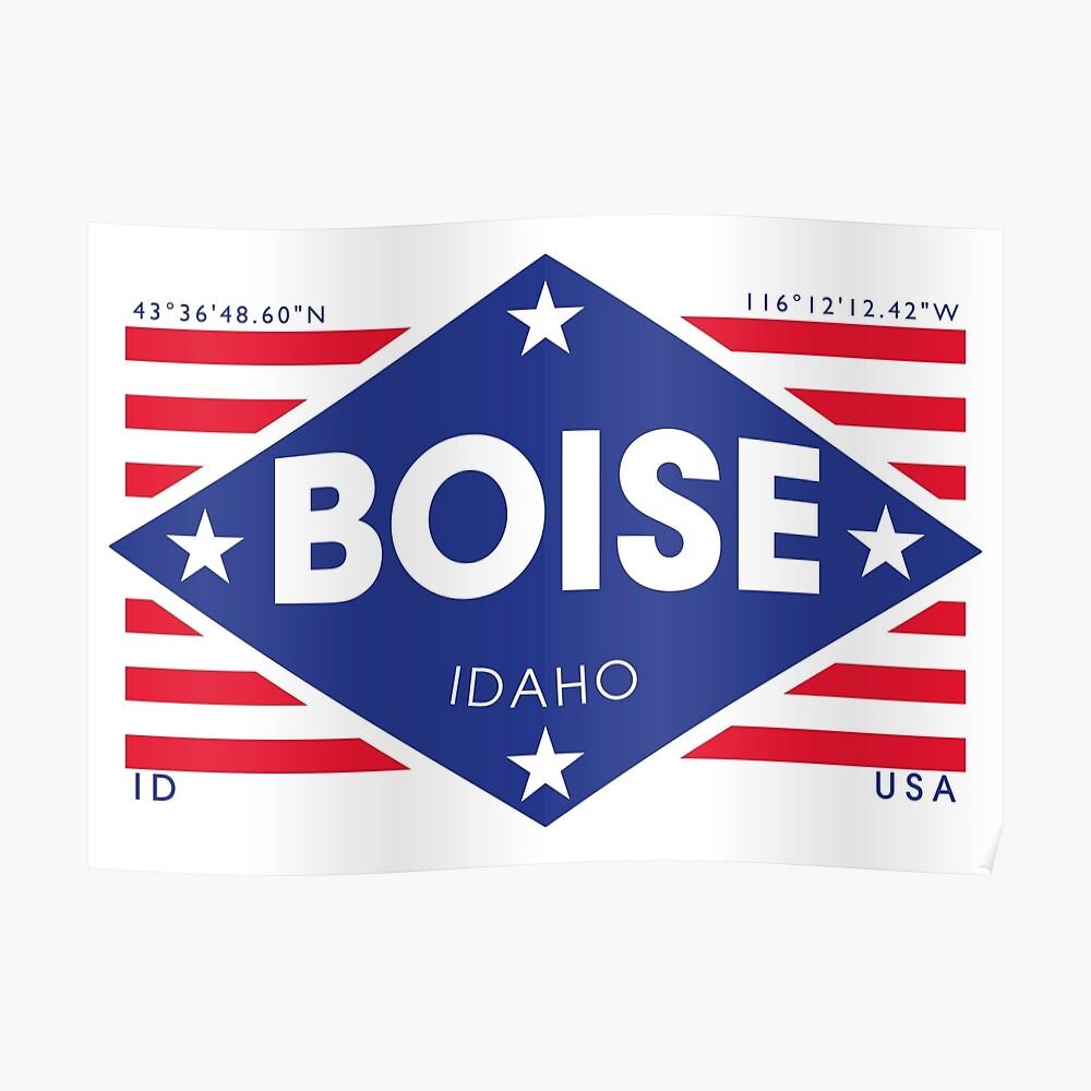 Boise, Idaho - Diamond Flag Póster