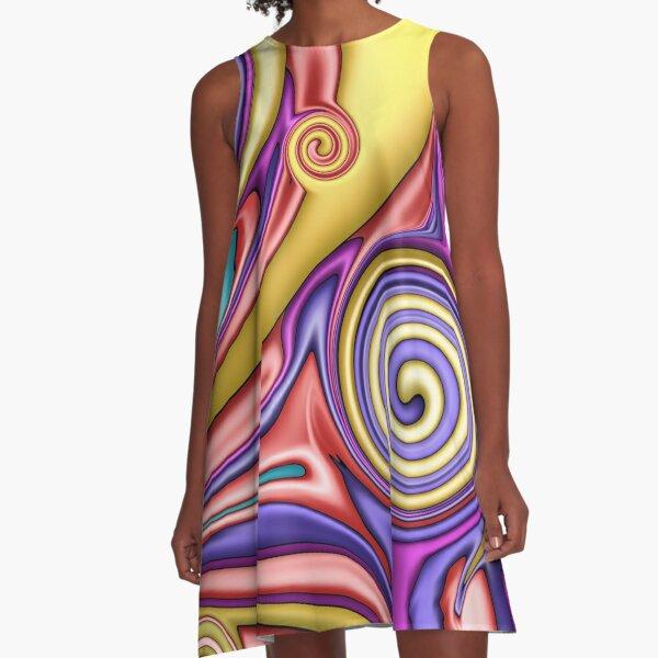 Buntes Fluid Painting A-Linien Kleid