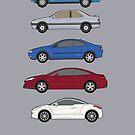 Peugeot coupes classic car collection 504, 405 concept, 406, 407, RCZ by RJWautographics