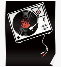 Record Player Audio Analog Vinyl Old School Music Geek Vintage Design Poster