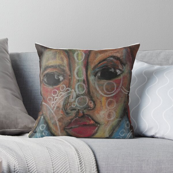 Pastel Portrait - S66 Throw Pillow