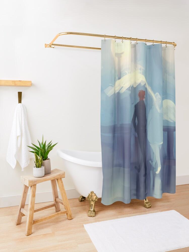 Alternate view of rainy day romance Shower Curtain