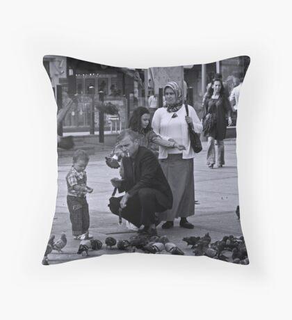 Feeding The Birds (Istanbul) Throw Pillow