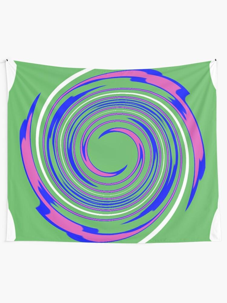 Alternate view of #vortex, #design, #spiral, #creativity, fun, illustration, shape, color image, circle, geometric shape Tapestry