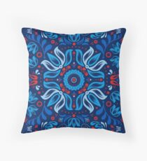 Folk Floral Tale Throw Pillow