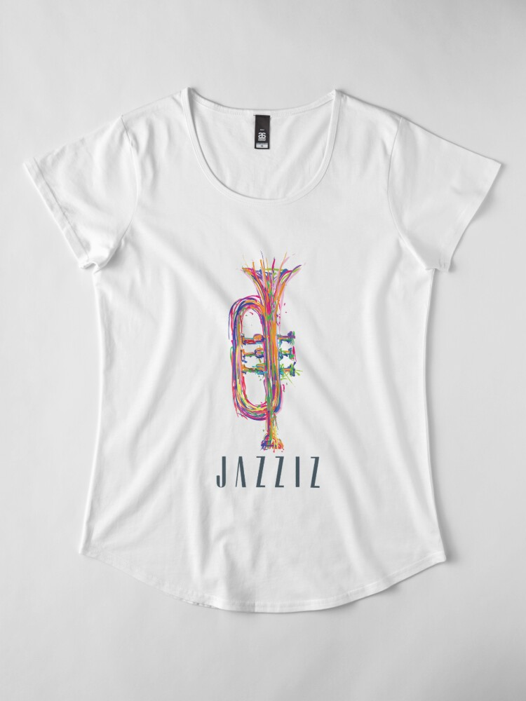 "Alternate view of JAZZIZ ""Trumpet"" Premium Scoop T-Shirt"