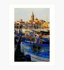 Fishing boats in Alghero, Sardinia. Art Print