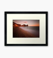 Durdle door at sunset Framed Print