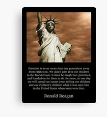 Ronald Reagan Freedom Quote Canvas Print