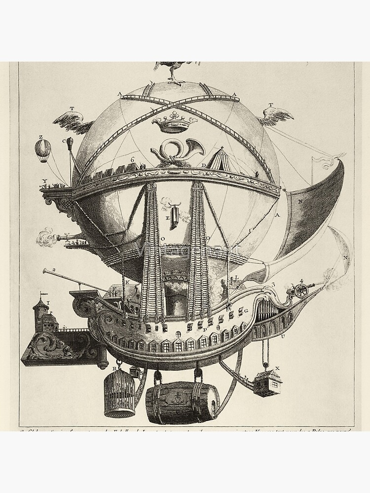 Vintage Flying Hot Air Balloon Ship, (ca. 1780) by Vintagenaut
