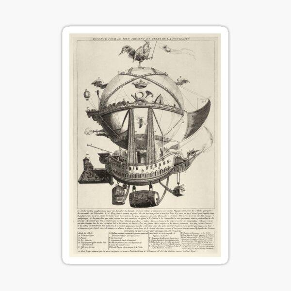 Vintage Flying Hot Air Balloon Ship, (ca. 1780) Sticker