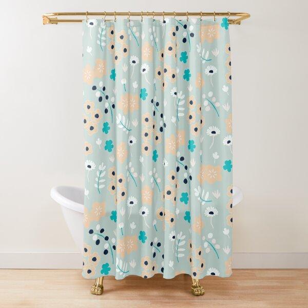 Peachy Summer Flowers Shower Curtain