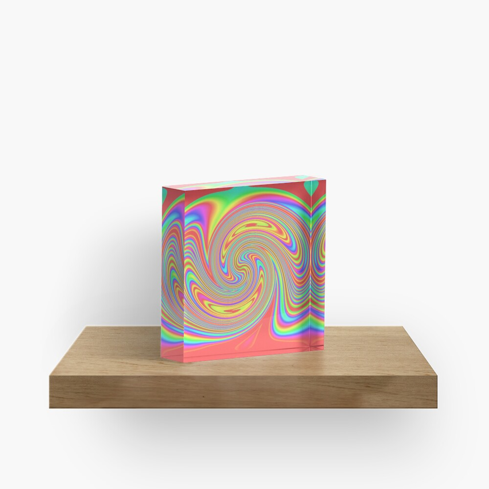 #vortex, #design, #spiral, #creativity, fun, illustration, shape, color image, circle, geometric shape Acrylic Block