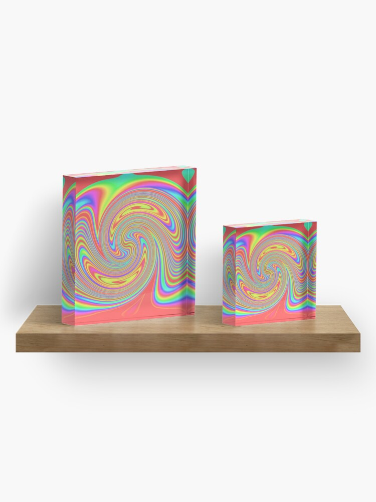 Alternate view of #vortex, #design, #spiral, #creativity, fun, illustration, shape, color image, circle, geometric shape Acrylic Block