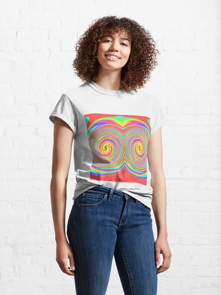 Alternate view of #vortex, #design, #spiral, #creativity, fun, illustration, shape, color image, circle, geometric shape Classic T-Shirt