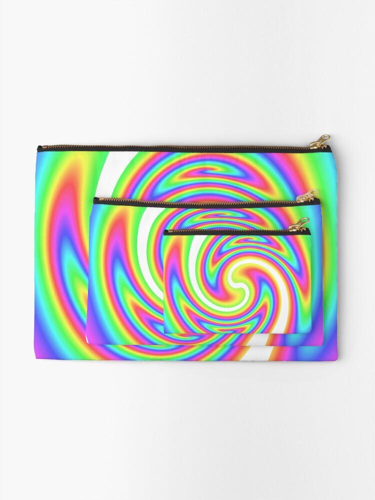 Alternate view of #vortex, #design, #spiral, #creativity, fun, illustration, shape, color image, circle, geometric shape Zipper Pouch