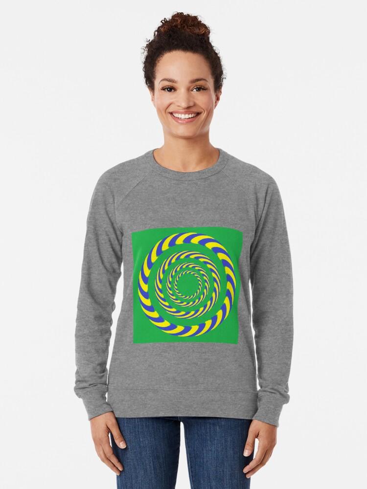 Alternate view of #vortex, #design, #spiral, #creativity, fun, illustration, shape, color image, circle, geometric shape Lightweight Sweatshirt