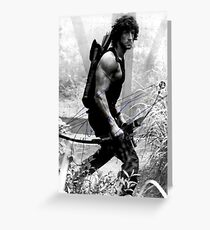 Rambo Stallone Autographed Photo B/W 1980's Greeting Card
