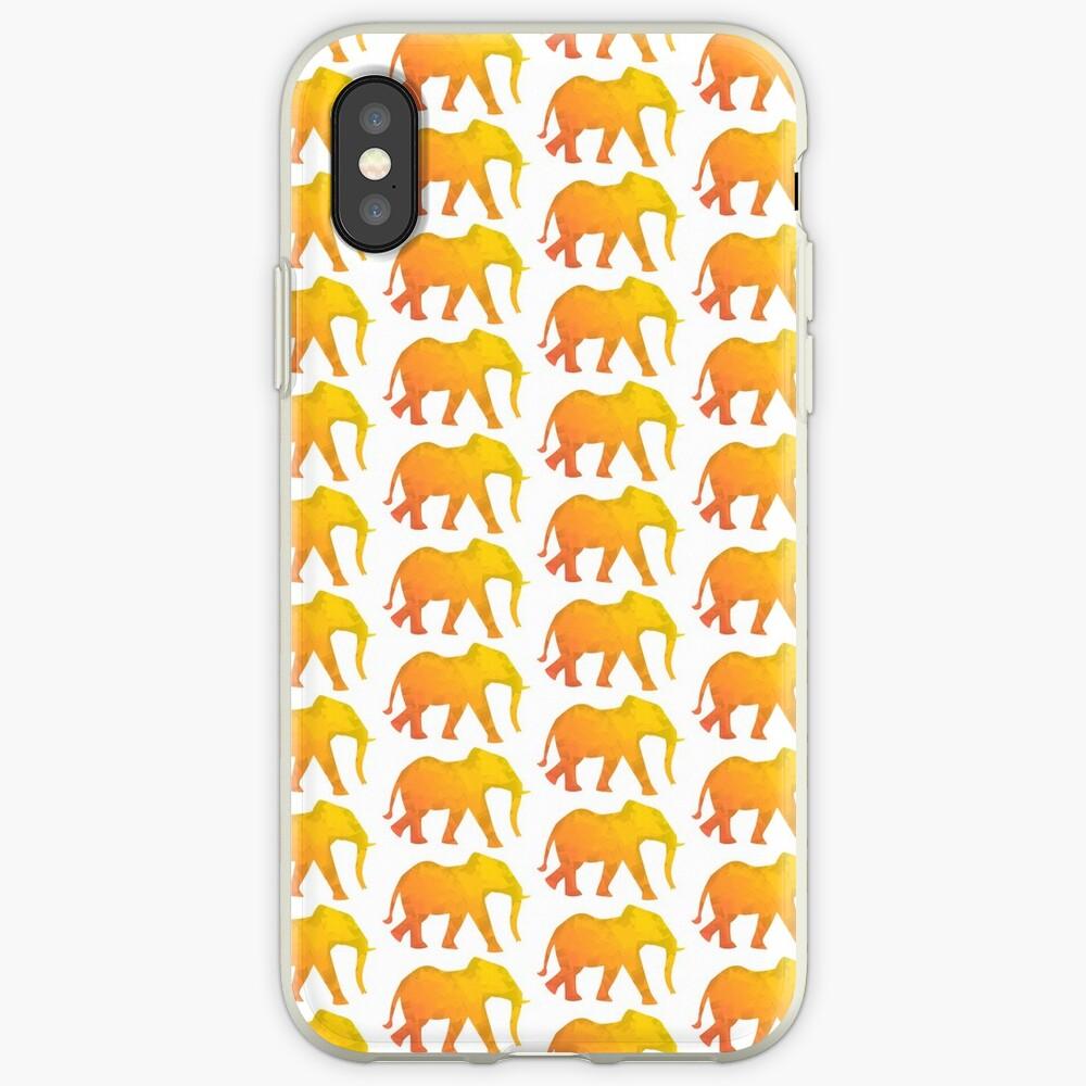 Elefant bunt, abstrakt,  kubistisch, Dickhäuter gelb und orange, kreativ iPhone-Hülle & Cover