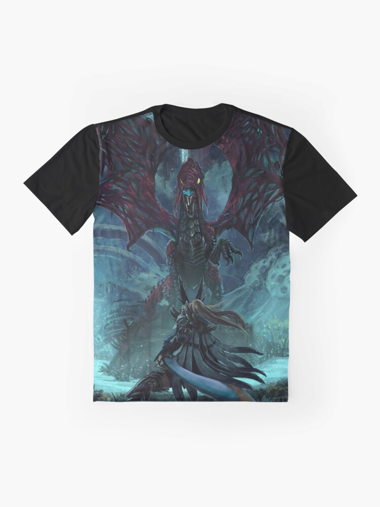 Alternate view of Death Lurks in the Light of the Darkness [Monster Hunter] Graphic T-Shirt