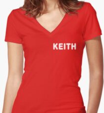 'KEITH' MOON Shirt Women's Fitted V-Neck T-Shirt