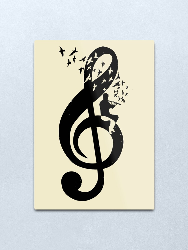 Alternate view of Treble Clef - Flute Metal Print