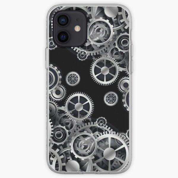 Steampunk Silver Gears iPhone Soft Case