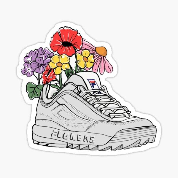 flores que crecen de zapatillas de papá Pegatina