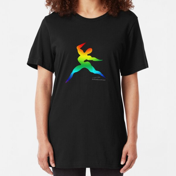 Cross Fit Training  Rainbow Dark Slim Fit T-Shirt