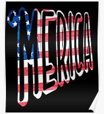 Póster MERICA bandera americana letras diseño patriótico