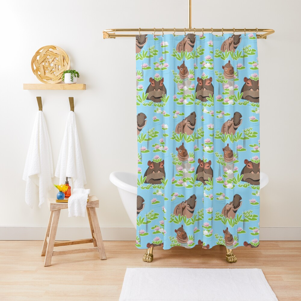 Hippos in Water Lillies Shower Curtain