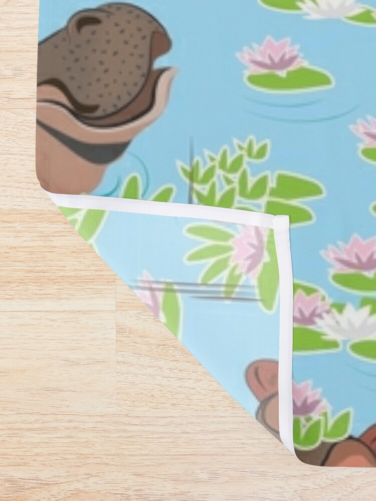 Alternate view of Hippos in Water Lillies Shower Curtain