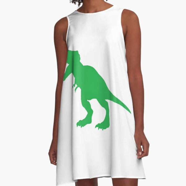 #Green #Dinosaur #GreenDinosaur A-Line Dress