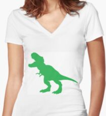 #Green #Dinosaur #GreenDinosaur Fitted V-Neck T-Shirt