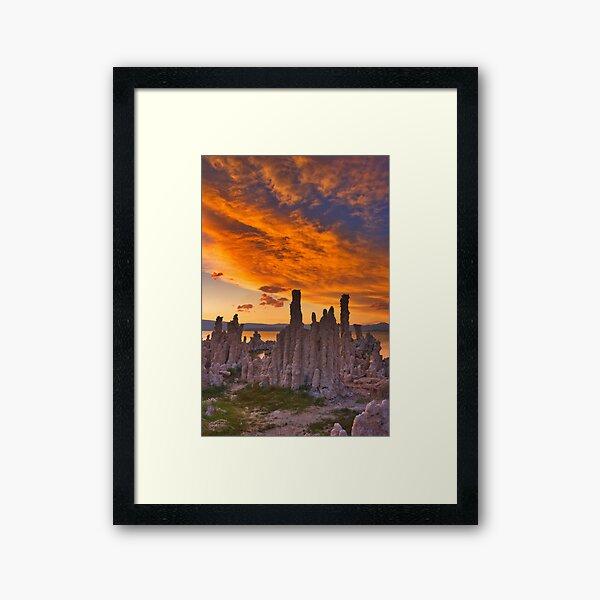 Mono Lake CA Sunset on Fire Framed Art Print