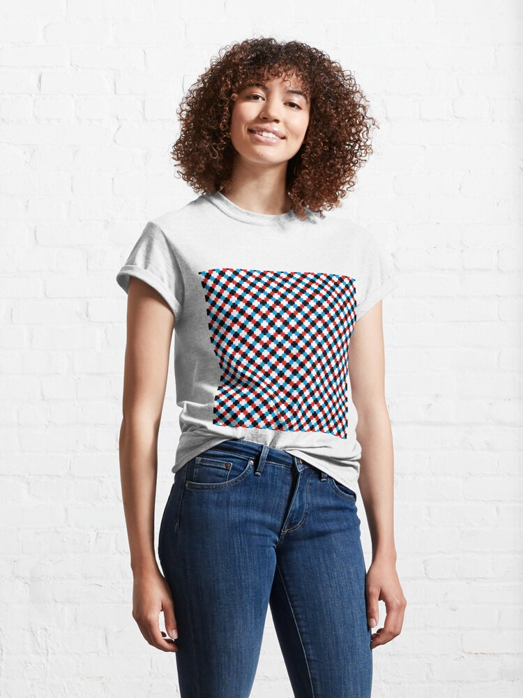 Alternate view of #pixel, #textile, #design, #pattern, abstract, square, fashion, repetition, art, tile, mosaic, repeat, horizontal, color image, seamless pattern, geometric shape, tilt, slanted, textured, backgrounds Classic T-Shirt