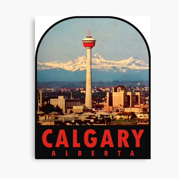 Calgary Alberta Canada Vintage Travel Decal Canvas Print