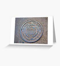 Santa Fe, NM, sewer cover Greeting Card