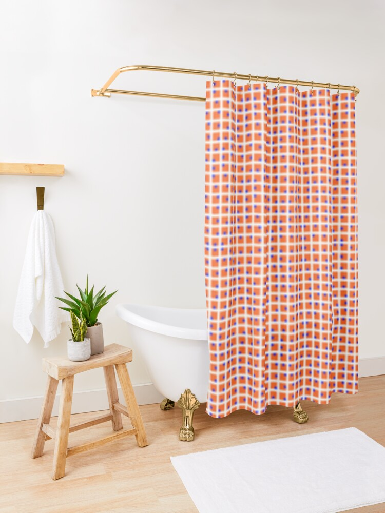 Alternate view of design, pattern, grid, tile, abstract, square, cotton, net, mosaic, textile, weaving, horizontal, color image, geometric shape, spotted, backgrounds, textured, seamless pattern Shower Curtain