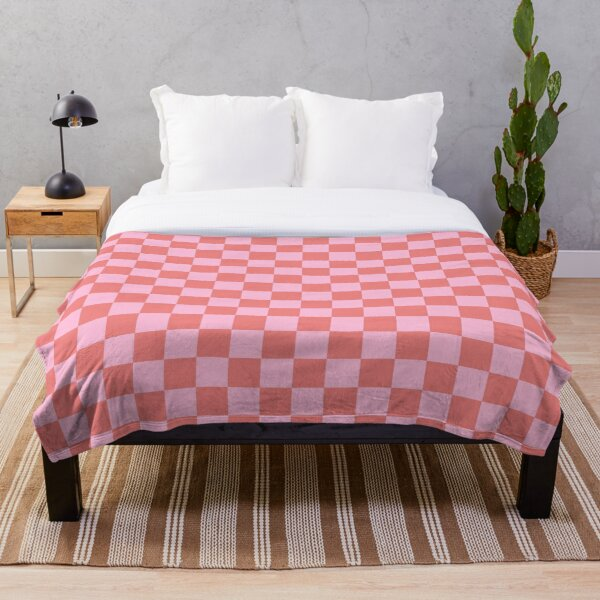 Cotton Candy Pink and Coral Pink Checkerboard Throw Blanket