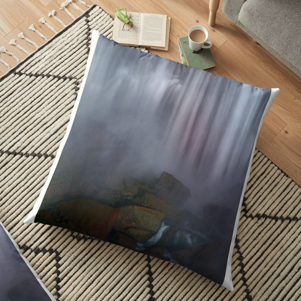 Rocky Watery American Falls  Floor Pillow