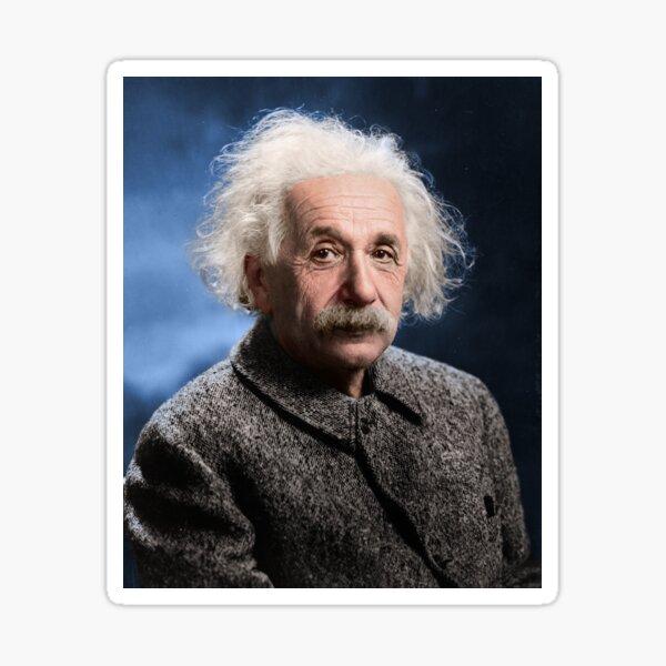 A historic portrait of Albert Einstein, theoretical physicist. c. 1947. Colorized. Sticker