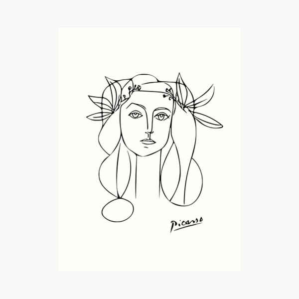 Picasso Line Art of Woman Wearing a Flower Crown Art Print